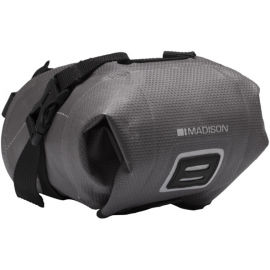 Waterproof micro seat pack with welded seams  roll down closure